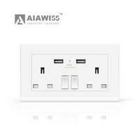 Wholesale AIAWISS A V Double USB Port Wall Socket Power Charger Adapter Outlet Panel UK Plug GM White