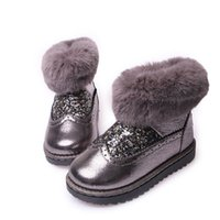 Wholesale Winter Children Shoes Warm Girl Snow Boots Sequin Bling Shoes Fashion Anti Slip Thick Boot P l