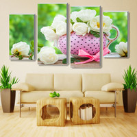 Wholesale 4 Panel Bright Color White Flower Large Wall Picture Modern Home Wall Decor Canvas Print Painting Wedding Decoration