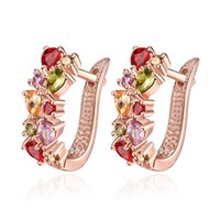 Wholesale Ruby Stone Earring New Arrival K Gold Plating Fashion High Quality Luxury Zircon Earrings Studs Jewelry