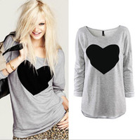 Wholesale 2016 Fashion T Shirt for women Heart Tops Sweatshirts Long Sleeve Shorts T Shirt Female Plus Sizes Tee Dresses Autumn Clothing S XXL