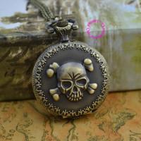 achat en gros de une seule pièce bracelet crâne-Vente en gros-gros acheteur prix bonne qualité nouveau bronze classique cru une pièce cool crâne montre bracelet de poche avec chaîne