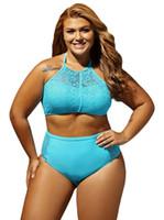 Wholesale Plus Size Swimwear Chubby Women Large Size Two Piece Bikini Set Colorful Crochet swimwear Summer Beach Wear Swimsuit Bathing Suit