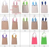 Wholesale 14 Colors Funny Design Easter Bunny Bag Ears Bags Cotton Material Easter Burlap Celebration Gifts Christma bag cotton handbag