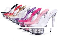 2017 sexy femme Talons hauts 15CM transparent Crystal chaussures Rose Flower sandales Grande taille 34-44