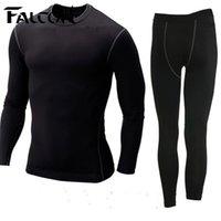 Venta al por mayor Falcon Hombres trajes de deporte mens nylon corrientes tights conjuntos cuerpo fit fitness yoga spandex camiseta pantalones para hombres correr atletismo ropa