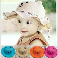 Unisex Summer Crochet Hats Children's new straw wavy edge teddy bear The boy girl cartoon modelling baby hat in summer