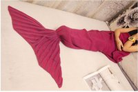 Wholesale kids Mermaid Tail Blanket Mermaid Tail Sleeping Bags Cocoon Mattress Knit Sofa Blankets Handmade Living Room Sleeping Bag cm blanke