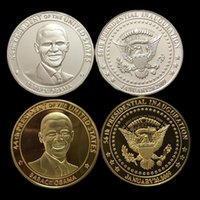 america obama - 2 The president of United state Barack Obama America real silver gold plated souvenir coin