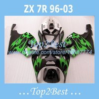 al por mayor 1997 cuerpo zx7r-Kits de carrocería de carenado Para KAWASAKI NINJA ZX7R 1996-2003 1997 1998 1999 ZX7R 96-03 blackgreen carenados # tp234