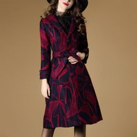 Wholesale Woollen Coat In The Winter of New Female Commuter Long Long Sleeve Printed Coat of Cultivate One s Morality Show Thin Cloths