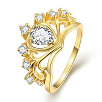 Wholesale Engagement Ring Top Quality k Yellow Gold Plated Crown Rings for Women Jewelry