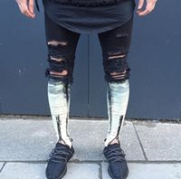 Men Full Length Pencil Pants Wholesale- 2016 Newest Fashion Tie-Dye Hole Destroyed Mens Slim Denim Straight Biker Skinny Jeans Men Ripped Jeans