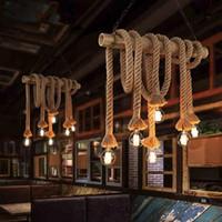 Wholesale American Industrial Lamps Retro Double Head Rope Pendant Light Loft Vintage Lamp Led Diningroom Hand Knitted Hemp Rope Light