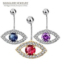 Wholesale Neoglory Cubic Zirconia Rhinestone Evil Eyes Piercing Navel Belly Button Body Fashion Jewelry for Women New Brand
