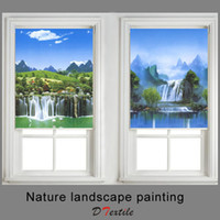 Wholesale Waterfall Colored drawing Window shaded fabric roller blinds