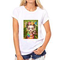 artist t shirt - Fashion Mexican Artists Frida Kahlo Printed Loose O Neck Short Sleeve T shirt Women s Clothing Modal Tops Tees Casual Shirts