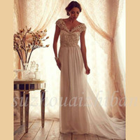 Wholesale 2016 Elegant Chiffon Long Wedding Dresses Luxurious Beading Sexy V neck Sweep Train Cap Sleeve Bridal Gown