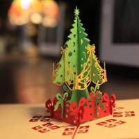 Wholesale Greeting D Paper card Christmas Tree Chinese Handmade Paper Cutting Artwork For Birthday or Festival Christmas Party Gift
