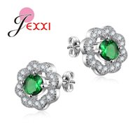 Wholesale PATICO New Stud Earrings For Women CZ Crystal Jewelry AAA Zircon Round boucle d oreille Wedding brincos Silver Earrings Colors