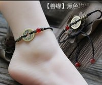 Wholesale Folk style retro hand woven Anklet red rope factory evil coins accessories simpleFolk style retro hand woven Anklet red ropeblack foot chain