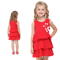 Wholesale Girl s Dresses short sleeve Clothing cotton Red A Line drop shipping