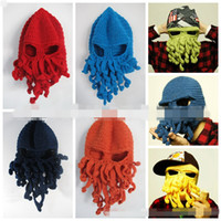 Cheap Men Women Novelty Handmade Knitting Wool Funny Beard Winter Octopus Hats Caps Christmas Party Crocheted Beanies Unisex