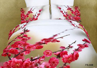 al por mayor fundas de edredón de ciruela-Nuevo Consolador Juego de sábanas 3D Juego de sábanas Funda de edredón flor de ciruelo flor de melocotón Tamaño Ropa de cama algodón 100% reactivo