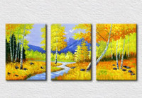 autumn scenery pictures - Natural autumn scenery oil painting on canvas for bedroom decorative pictures high quality