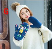 Wholesale Winter gloves Woman Knit Lovely plush Keep warm Casual fashion gloves Mittens Full finger gloves Soft Lanyard Elastic force