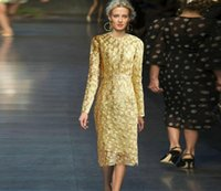 Wholesale Europe and the United States fall and winter runway dress section of the new long sleeved golden European dress star dress