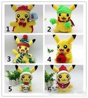 Wholesale Cute Style Christmas Poke Go Pikachu Plush Dolls Soft Toys Inch cm Children Pikachu Charmander Jeni Turtle Plush Dolls Toy