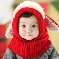 baby hat with ears pattern - Winter Kids Hat Scarf Set scarf hat pattern Cotton Baby Girl Boy Wool Warm Caps with ears cute neckwarmer Kids Neck Wrap Scarf hats MOQ5PCS