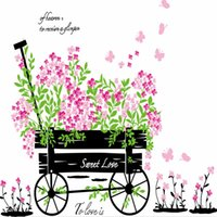 bathroom carts - 50 cm Flowers Cart Sweet Love Wall Stickers DIY Art Decal Removeable Wallpaper Mural Sticker for Kids Room Bedroom AY705