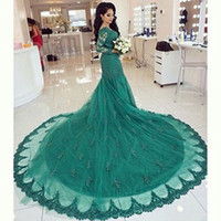 art deco brooches - Green Lace Mermaid Evening Dresses V Neck Long Sleeve With Zip Back Lace Applique Custom Made Formal Prom Dress Elegant New