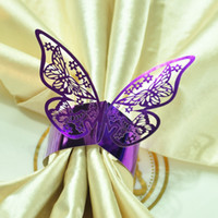 Wholesale Purple Wedding Party Decoration Napkin Rings Holders Porta Guardanapo Baby Shower Holders Paper Table Decor