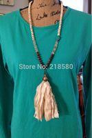 beaded sari - Knot White Turquoise Beads Necklace Shabby BoHo Sari Silk Tassel Necklace