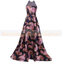 abendkleider ballkleider - Sheer Neck Halter long evening dress Flower Printed prom dresses plus size Formal ballkleider avondjurken brautkleid abendkleider lang
