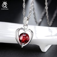 allergies natural - New Arrival Natural Garnet Elegant Pandent Necklace S925 Sterling Silver with Layer Platinum Plated Allergy Free ON48