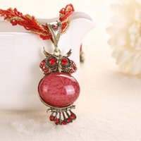 Wholesale Elegant fashion owl alloy pendant The owl sautoir Bohemia jewelry national wind necklace Restore ancient ways jewelry