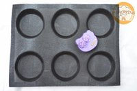 Wholesale 6 Molds Round Bread Silicone Baking Mold Silform Perforated Bun Baking Mat Non Stick Muffin Caps Baking Pan Whoopie Pie Pan