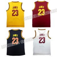 Wholesale 2016 Men s New LeBron James Youth Jersey Embroidery Gold Blue White Black Jersey
