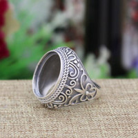 art nouveau deco - Art Deco Fine Silver Ring Setting x18mm Oval Cabochon Semi Mount Art Nouveau Fine Silver Women Men Wedding Ring