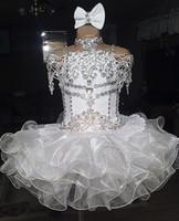 al por mayor organza vestidos del desfile de la magdalena-El cordón blanco rebordeó el cortocircuito del halter de la manga del vestido de bola del organza del arco de la magdalena del vestido de la niña de las muchachas de los vestidos del desfile de las niñas para las bodas glitz