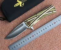Wholesale 100 of the limited edition of D2 steel blade Microtech fin folding knife grinding blade and two tone titanium copper processing foldin