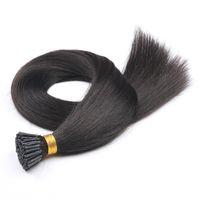 Pré-lié en gros I-tip Natural Black Cheveux brésiliens 1g strand, 100g set 16-26 inch Hair Extensions Silky Straight 8A