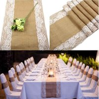 Wholesale Free by UPS x275cm Rustic Burlap Lace Hessian Table Runner Natural Jute For Party Wedding Decoration AA7922