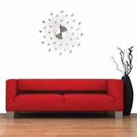 Wholesale Excellent Quality About cm Novelty Diamond Crystal Jeweled Beaded Sunburst Wall Clock Living Room Silver Wire