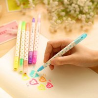 Wholesale PC Novelty Cubic Rhinestone Cap Double Head Dots Highlighter Fluorescent Pen Markers Gift Stationery Random Color