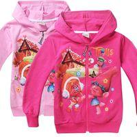 b sweatshirt - 2 Color Girls Trolls Poppy Branch Hoodies Sweatshirts NEW children Christmas cartoon Long sleeve Hoodie jacket kids coat B